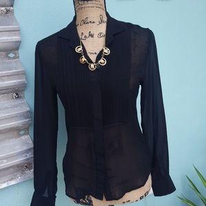Joe's Collection tuxedo front  silk blouse